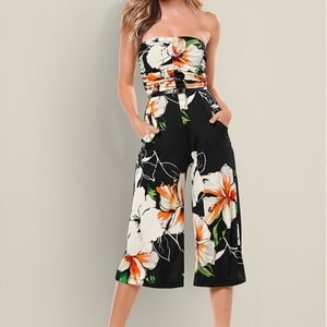 Venus Strapless Culotte Jumpsuit Black Floral, S